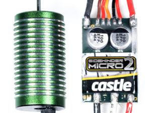 Castle - Sidewinder 18th - Combo - 1-18 Extreem Car regelaar met 0808-4100 Sensorless motor