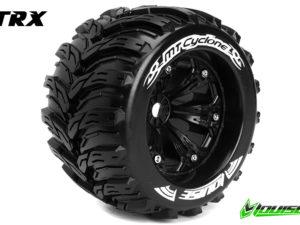 """Louise RC - MT-CYCLONE - 1-8 Monster Truck Banden Set - Verlijmd op velg - Medium - 3.8"""" Velgen Zwart - 1/2""""-Offset - EP E-REVO Voor - Achter - EP SUMMIT Voor - Achter - GP T-MAXX 3.3 Voor - Acht"""