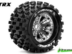 """Louise RC - MT-ROCK - 1-8 Monster Truck Banden Set - Verlijmd op velg - Medium - 3.8"""" Velgen Chroom - 1/2""""-Offset - EP E-REVO Voor - Achter - EP SUMMIT Voor - Achter - GP T-MAXX 3.3 Voor - Achter"""