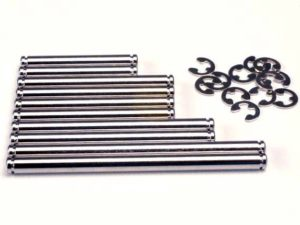 Suspension pin set, hard chrome (w/ E-clips)