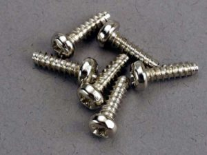 Screws, 3x10mm roundhead self-tapping (6)