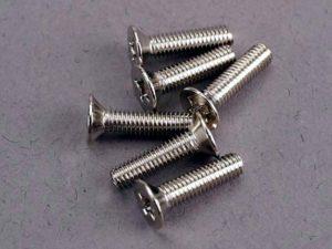 Screws, 3x12mm countersunk machine (6)