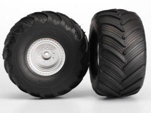 Tires & wheels, assembled, glued (Monster Jam replica, satin