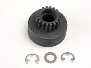 Clutch bell, (18-tooth)/ 5x8x0.5mm fiber washer (2)/ 5mm E-c