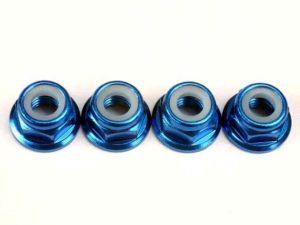 Nuts, 5mm flanged nylon locking (aluminum, blue-anodized) (4