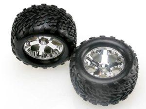 Tires & wheels, assembled, glued (2.8) (All-Star chrome whee