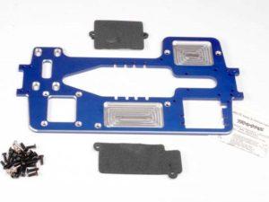 Chassis, 7075-T6 billet machined aluminum (4mm) (blue)/ har