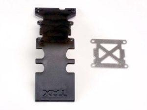 Skidplate, rear plastic (black)/ stainless steel plate