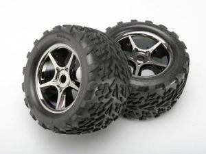 Tires & wheels, assembled, glued (Gemini black chrome wheels