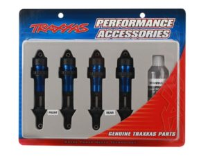 Shocks, GTR aluminum, blue-anodized bodies with TiN shafts (
