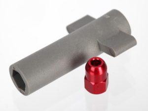 Antenna crimp nut, aluminum (red-anodized)/antenna nut tools