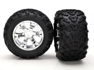 Tires & wheels, assembled, glued (Geode chrome wheels, Maxx