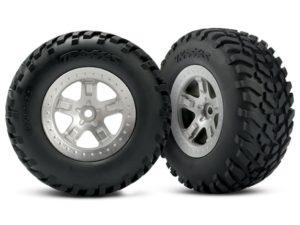 Tires & wheels, assembled, glued (SCTsatin chrome wheels, (d