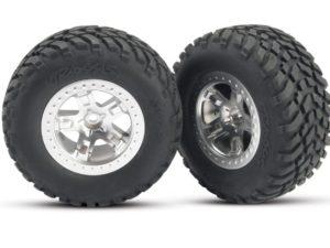 Tires & wheels, assembled, glued (SCT satin chrome wheels, (