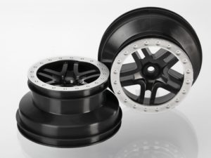 Wheels, SCT Split-Spoke, black, satin chrome beadlock style
