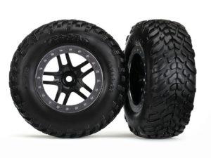 Tires & wheels, glued on SCT Black chrome wheels TSM Rated