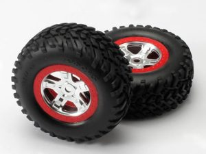 Tires & wheels, assembled, glued (SCT, satin chrome wheels,