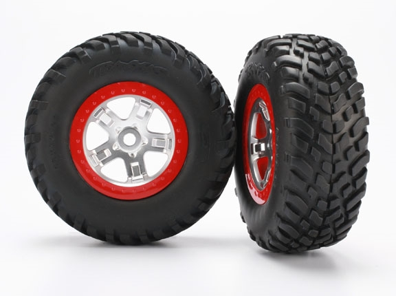 Tires & wheels, assembled, glued (SCT, satin chrome, red bea