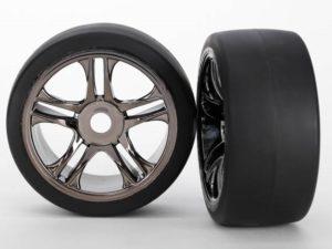 Tires & wheels, assembled, glued (split-spoke, black chrome