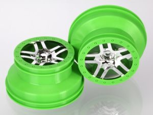 Wheels, SCT Split-Spoke, chrome, green beadlock style, dual