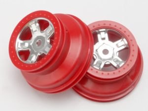 Wheels, SCT satin chrome, red beadlock style, dual profile (