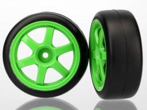 Tires and wheels, assembled, glued (Volk Racing TE37 green w