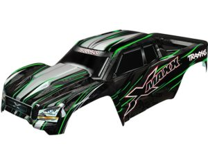 Body, X-Maxx, green (painted, decals applied) (assembled wit