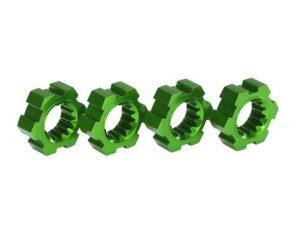 Wheel hubs, hex, aluminum (green-anodized) (4)