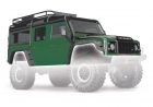 Body, Land Rover Defender, green (complete with ExoCage, inner fenders, fuel can