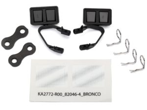 Mirrors, side, black (left & right)/ retainers (2)/ body clips (4)