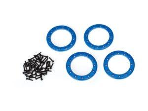 Beadlock rings, blue (1.9') (aluminum) (aluminum) (4)/ 2x10 CS (48)