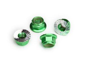 Nuts, 5mm flanged nylon locking (aluminum, green-anodized, serrated) (4)