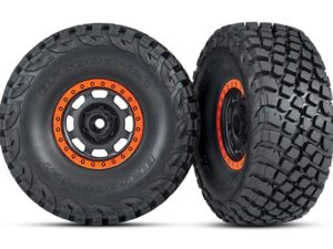 Tires and wheels, assembled, glued (Desert Racer wheels, black with orange beadl