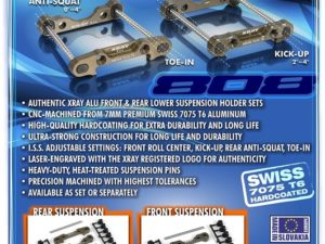 XB808 Alu Rear Lower Susp. Holders Set- Swiss 7075 T6 (7mm)