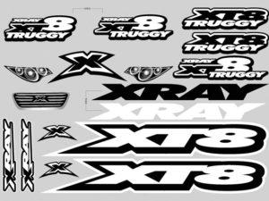 Xray XT8 Sticker For Body White