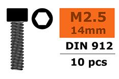 G-Force RC - Cilinderkopschroef - Binnenzeskant - M2,5X14 - Staal - 10 st