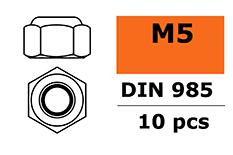 G-Force RC - Zelfborgende zeskantmoer - M5 - Gegalvaniseerd staal - 10 st