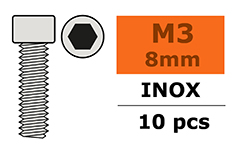 G-Force RC - Cilinderschroef - Binnenzeskant - M3X8 - Inox - 10 st