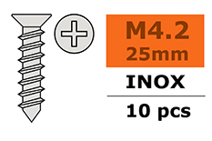 G-Force RC - Zelftappende verzinkkopschroef - 4,2X25mm - Inox - 10 st