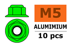 G-Force RC - Aluminium zelfborgende zeskantmoer met flens - M5 - Groen - 10 st