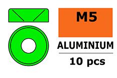 G-Force RC - Aluminium sluitring - voor M5 Verzonkenkopschroeven - BD=12mm - Groen - 10 st
