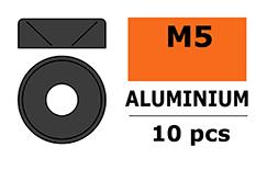 G-Force RC - Aluminium sluitring - voor M5 Verzonkenkopschroeven - BD=12mm - Gun Metaal - 10 st