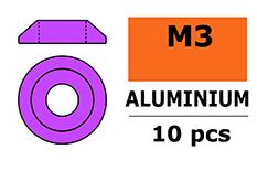 G-Force RC - Aluminium sluitring - voor M3 Laagbolkopschroeven - BD=10mm - Paars - 10 st