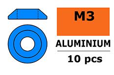 G-Force RC - Aluminium sluitring - voor M3 Laagbolkopschroeven - BD=10mm - Blauw - 10 st
