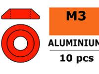 G-Force RC - Aluminium sluitring - voor M3 Laagbolkopschroeven - BD=10mm - Rood - 10 st